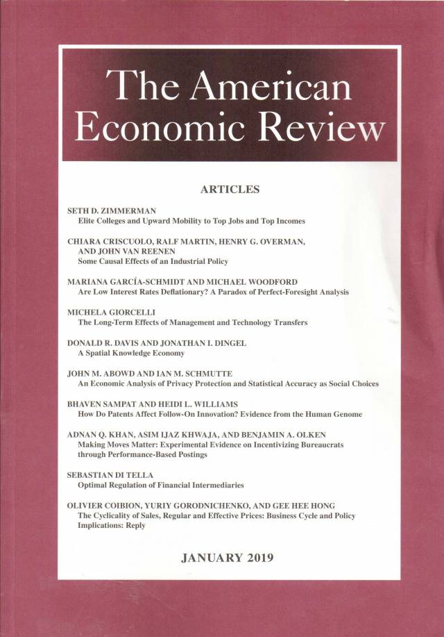 The American Economic Review – Volume 109 – Nº 1 – January 2019