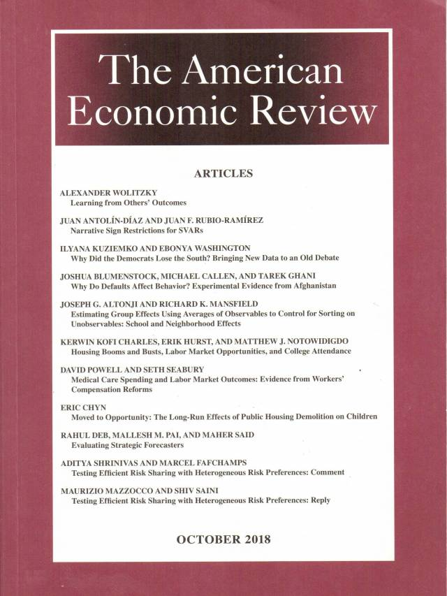 The American Economic Review – Volume 108 – Nº 10 – October 2018
